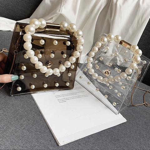 Transparent PVC Clear Pearl Handbag Fashion ]