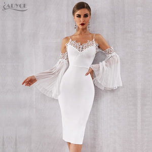 Women Bandage Dress Sexy Flare Sleeve White Lace