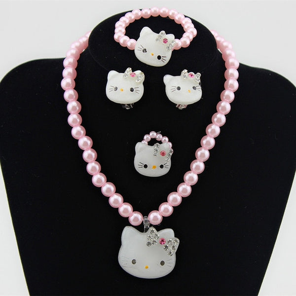 Kids Baby Girls Princess necklace Cat Necklace Imitation Pearl