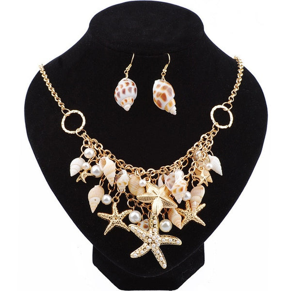 Starfish Sea Snail Earrings Necklace Bracelet Suit Pearl Sets