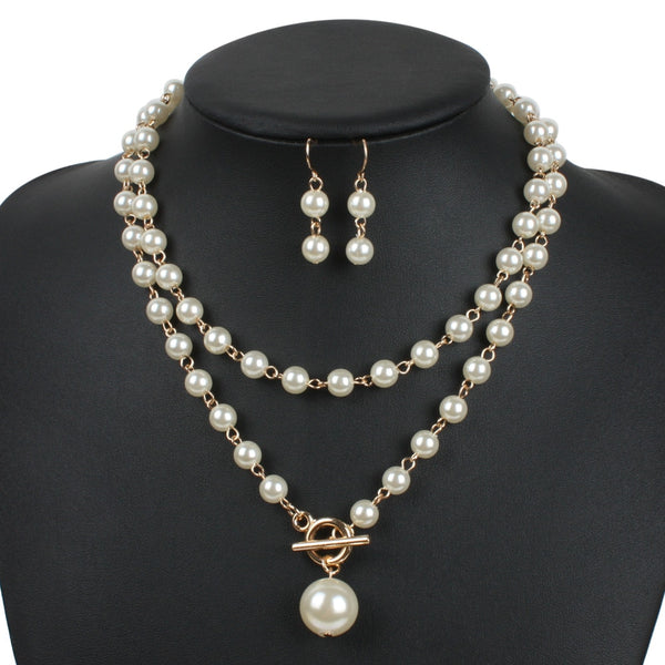 Simulated Pearl Jewelry Sets Gold
