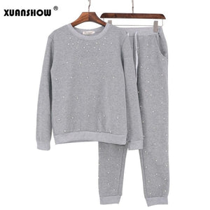 Pearl Beading Sweatshirt and Pant 2 PCS Long Sleeve Pullovers Womens Tracksuits