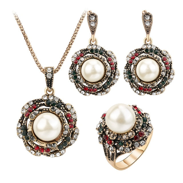 3Pcs Vintage Imitation Pearls Jewelry Sets Antique Gold