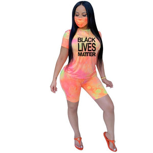2 piece Set Women Black Lives Matter T Shirt Tye dyeg