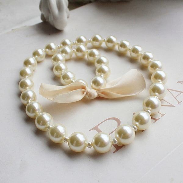 Kids Pearl Jewelry Set for Children Simulated Bead Necklace Bracelet