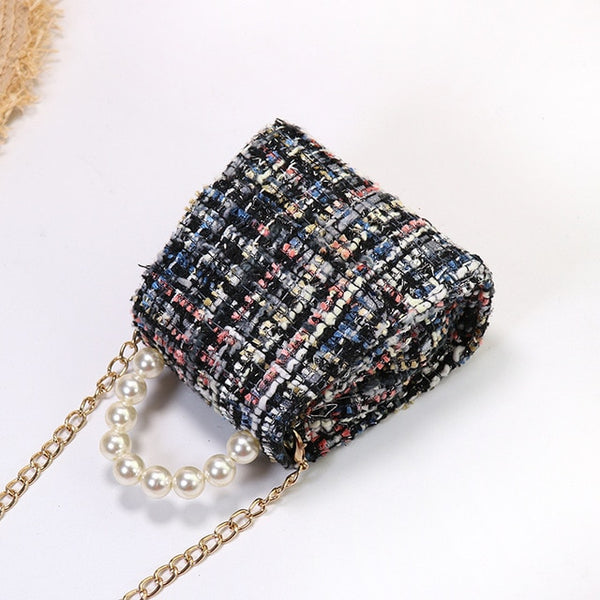Mini Purses and Handbags Woolen  Pearl Hand Bags Tote Gift