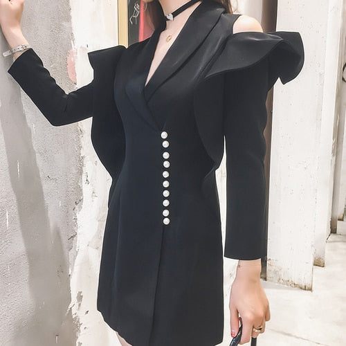 Pearls Button Off The Shoulder Women Blazer Dress