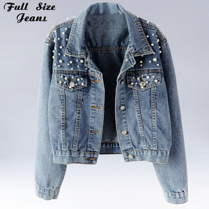 Plus Size Pearl Beading Short Denim Jackets 3Xl 5Xl