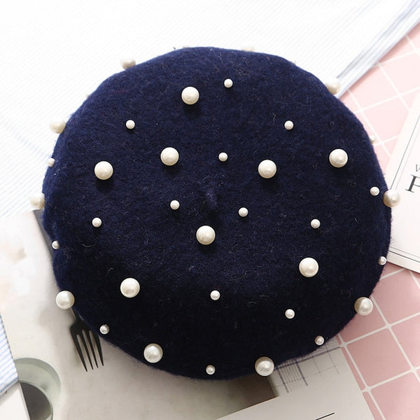 Wool Women Winter Berets Luxury Pearl Rivet Vintage Cashmere