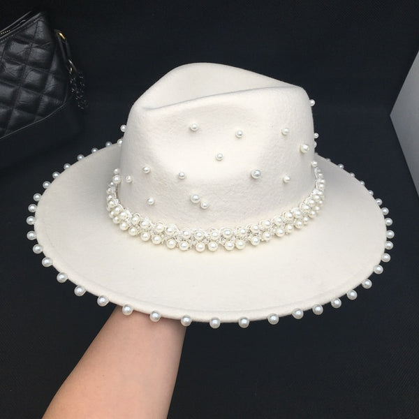 Fedora panama Autumn winter white wool with many Pearls