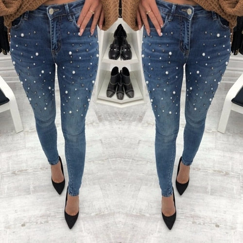 Blue Jeans Pants Skinny Pearl Beaded Black Jeans High Waist Zipper