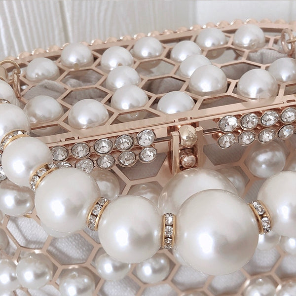 Hollow Out Wedding Clutch Purse Bag with pearls