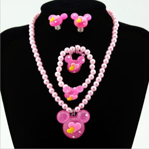1set Baby Girl's Lovely Imitation Pearls Bead Jewelry Set Cute mickey