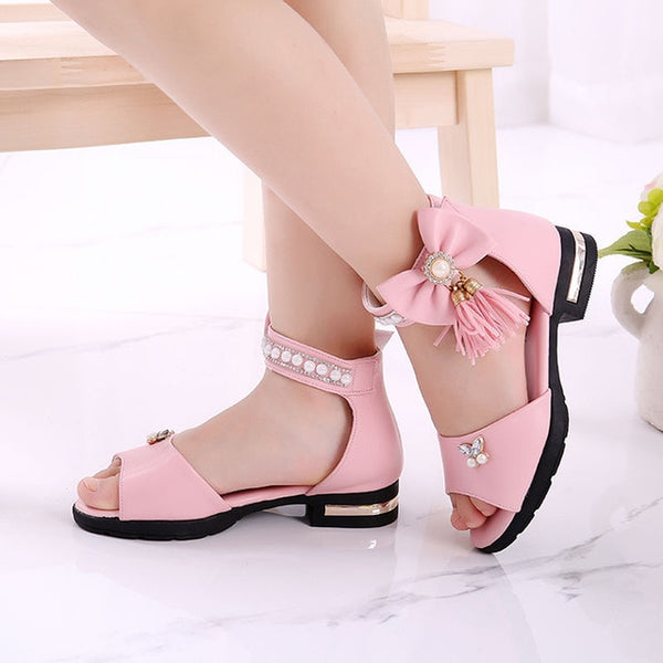 Ankle Sandals For Big Children Square Heels Tassel Pearls Princess