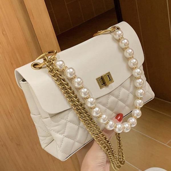 New Fashion pearl Purses PU Leather Small Dress Chain bag