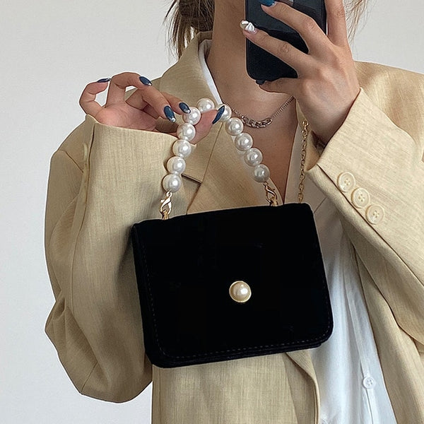 Pearl handle tote bags small Shoulder purse