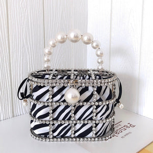 Pearls Handle Metallic Bucket Bag Zebra Leopard Print