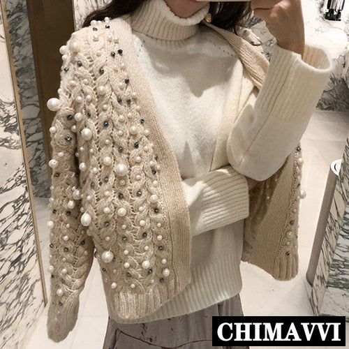 Pearl Rhinestone Beads Thick Cardigan Sweater