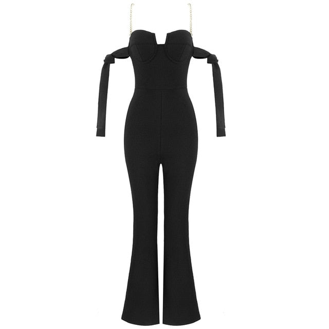 Bandage Woman Jumpsuit Black Off Shoulder Pearls