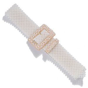 European Luxury Pearl Weaving Waist Belt