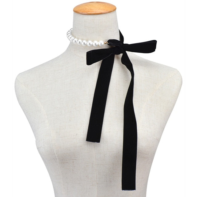 Punk Long Wide Black Velvet Ribbon Choker Bow Tie Simulated Pearl Beads