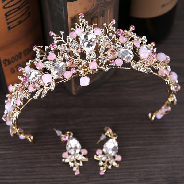 Pink Gold Pearl Bridal Crowns Tiara Headband
