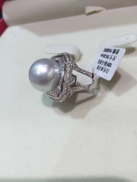 Genuine pearl 14-15MM  big pearl ring fine jewelry Natural southsea pearl ring 18K gold diamond