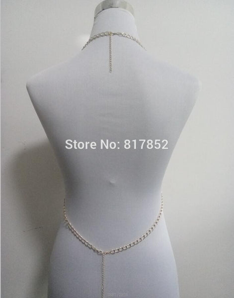 Gold colour Chains Imitation Pearls Beads Bra Body Chains Jewelry