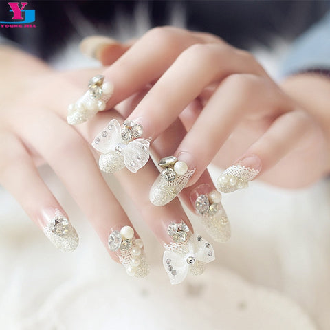 3D Fake Nails Butterfly Full Lace Pearl Pre Design Nail Art Tips Beauty Press On Nails