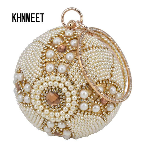 Design Gold ball Wristlets Bag Women Beaded Pearl Min Purse Clutch