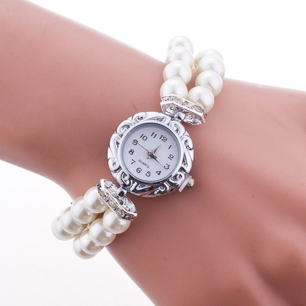 Luxury Women Watches Pearl Bracele Quartz Wristwatch