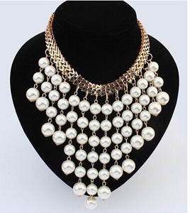 Simulated pearl necklace big exaggeration multilayer
