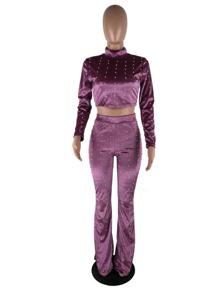 velvet Suit Long Sleeve Pearl Embellished Crop Top and Pant Set