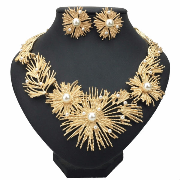 Big Flower Statement Necklace Set Woman