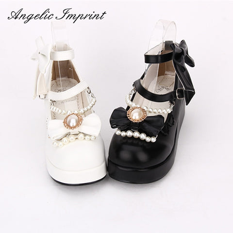 Sweet Lolita Cosplay Shoes Wedge Mary Jane Shoes with Pearls & Bows