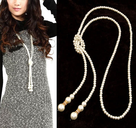Simulated Pearl Long Necklace for Women Vintage Choker Statement Necklace