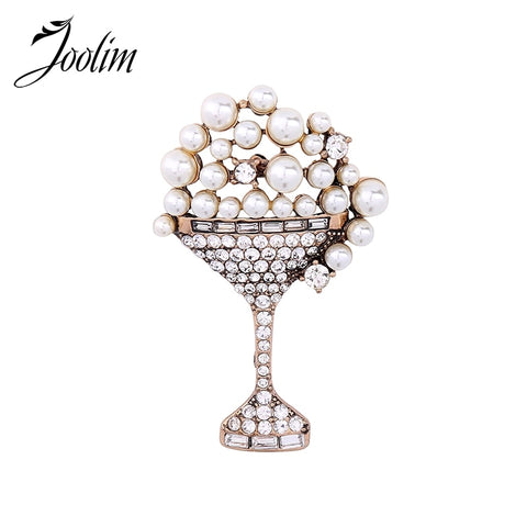 Simulated Pearl Brooch Crystal Wine Cup Brooch Women