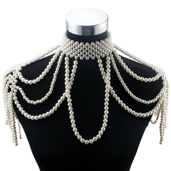 Long Bead Chain Chunky Simulated Pearl Necklace Body Jewelry for Women Costume