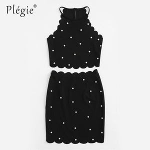 Womens Two Piece Set Summer Ladies Black Sleeveless Pearl Beading Scalloped Halter Top Skirt Set