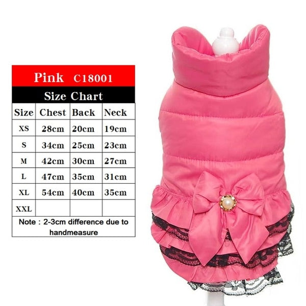 Winter Dog Coat with pearls Coat for Small Dog Pet