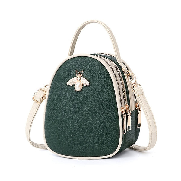 Women Bags Pu Leather Shoulder Bag for Women 2018 Fashion Bee and Pearl Decoration
