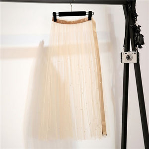 Tulle Skirts Mesh Pearl Beading Long Skirts Elegant See-throu