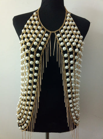 Imitation Pearls Mesh Chainmail Halter Necklace