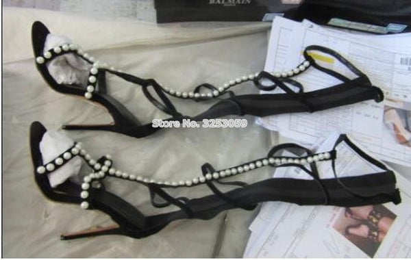 Black Suede Pearls Sandal Boots Knee High Long Jewelry Stiletto Heel Dress