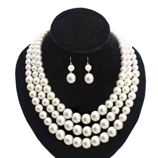 Custom Multi layers Pearl Necklace & Earring Jewelry Set Three Strands