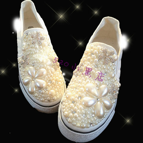 White Crystal Pearl Beaded Canvas Women Shoes Sneakers with Platform Thick Sole