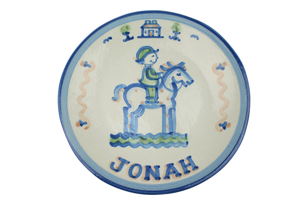 "Personalized 9"" Plate - Boy on Horse (1 Line)"