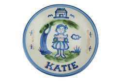 "Personalized 9"" Plate - Girl by Tree (1 Line)"