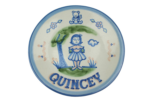 "Personalized 9"" Plate - Girl by Tree & Teddy Bear (1 line)"