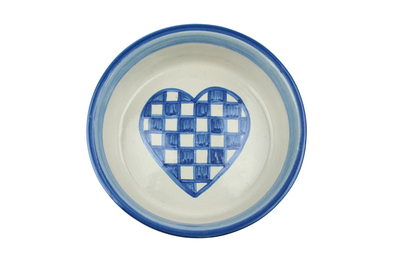 "Personalized 8"" Bowl - Checkered Heart Dog"
